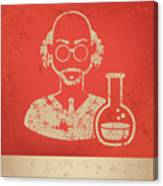 Scientist On Red Background,poster Canvas Print