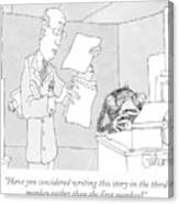 Scientist Talking To Monkey At Typewriter Canvas Print