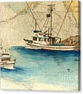 Scooter Fishing Boat Nautical Chart Map Art Canvas Print