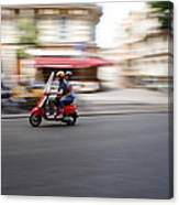 Scooter In Paris Canvas Print