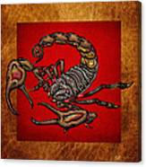 Scorpion On Red And Brown Leather Canvas Print