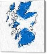 Scotland Painted Flag Map Canvas Print