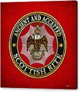 Scottish Rite Double-headed Eagle On Red Leather Canvas Print