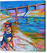 Scout the River Guard Canvas Print