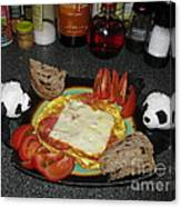 Scrambled Eggs Salami And Cheese For Breakfast. Travelling Baby Pandas Series. Canvas Print