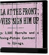 Screen Capture  Newspaper Article  Mutual Film Corporation's  The Life Of General Villa 1914-2013 Canvas Print