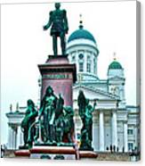 Sculpture Of Alexander II In Cathedral Of Helsinki-finland Canvas Print
