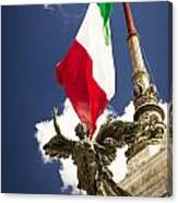 Sculpture Of Angel On The Background Of The Italian Flag Canvas Print