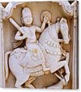 Sculpture On The Royal Cenotaphs Near Jaisalmer In India Canvas Print