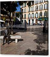 Scupture Of Picasso On The Plaza De La Canvas Print