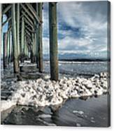 Sea Foam And Pier Canvas Print