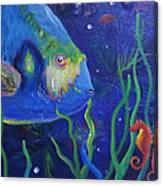 Sea Horse And Blue Fish Canvas Print