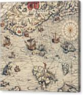 Sea Map By Olaus Magnus Canvas Print