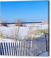 Sea Oats And Fence Along White Sand Canvas Print