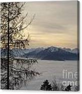 Sea Of Fog In Sunset Canvas Print