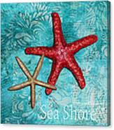 Sea Shore Original Coastal Painting Colorful Starfish Art By Megan Duncanson Canvas Print