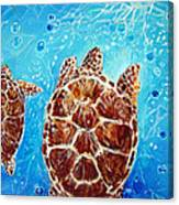 Sea Turtles Swimming Towards The Light Together Canvas Print