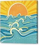 Sea Waves And Yellow Sun On Old Paper Canvas Print