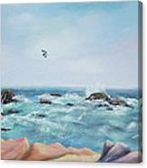Seagull Over The Ocean Canvas Print