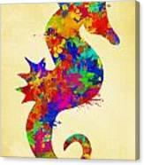 Seahorse Watercolor Art Canvas Print