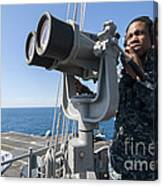 Seaman Stands Lookout Aboard Canvas Print