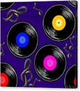 Seamless Music Pattern With Vinyl Canvas Print