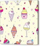 Seamless Pattern Delicious Ice Cream Canvas Print
