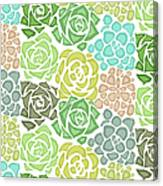Seamless Texture With Flat Succulents Canvas Print