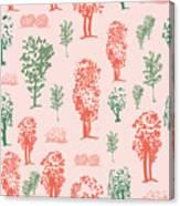 Seamless Tree Pattern, Deciduous Trees Canvas Print