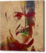 Sean Connery Actor Watercolor Portrait On Worn Distressed Canvas Canvas Print