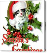 Seasons Greetings - Kitten Canvas Print