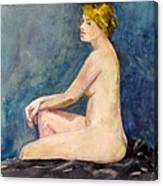 Seated Blond Nude Canvas Print