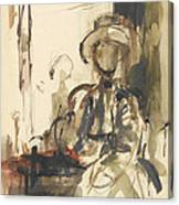 Seated Figure Woman Seated, Wearing Canvas Print