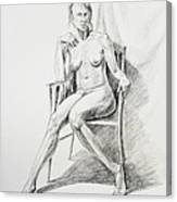 Seated Nude Model Study Canvas Print