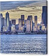 Seattle At Twilight From Alki Beach Canvas Print