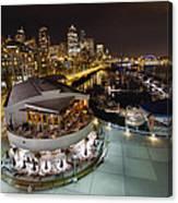 Seattle City Skyline And Marina At Night Canvas Print
