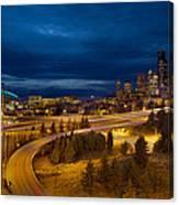 Seattle City Skyline At Blue Hour Canvas Print
