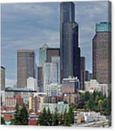 Seattle City Skyline At Rush Hour Canvas Print