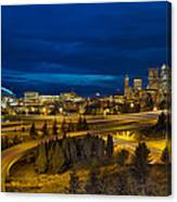 Seattle Downtown Skyline And Freeway At Twilight Canvas Print