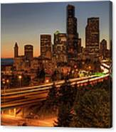Seattle Downtown Skyline At Dusk Canvas Print