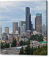 Seattle Downtown Skyline On A Cloudy Day Canvas Print
