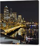 Seattle Downtown Skyline Waterfront Marina Canvas Print