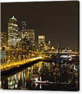 Seattle Downtown Waterfront Skyline At Night Reflection Canvas Print
