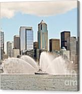 Seattle Downtown With Fireboat Canvas Print