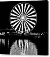 Seattle Great Wheel Black And White Canvas Print