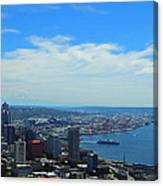 Seattle Harbor And Mt Rainier From Space Needle Canvas Print