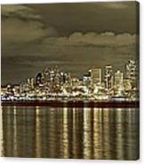 Seattle Lights At Night From Alki Canvas Print