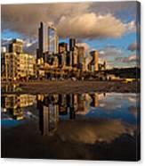 Seattle Pier Sunset Clouds Canvas Print