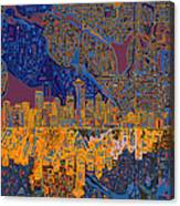 Seattle Skyline Abstract 4 Canvas Print