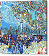 Seattle Skyline Abstract 7 Canvas Print
